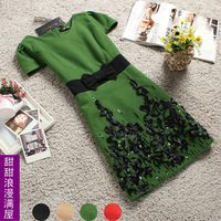 2013 spring women's r4418 elegant slim waist woolen short-sleeve dress