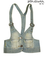 Denim vest female fashion denim vest halter-neck vest denim spaghetti strap waistcoat small vest