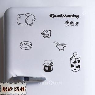 Wood log-cabin m100 strawberry milk wall stickers milk box breakfast bread refrigerator stickers