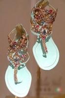 2015 spring and summer rc multicolour gem rhinestone flip genuine leather flat sandals blue