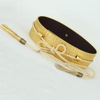 2014 new Fashion decoration waistband women's wide belt serpentine leather Cummerbunds gold black tassel strap t belt for female