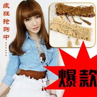 2014 new ladies Fashion pear cutout flower tassel elastic cummerbund women all match wide belt female