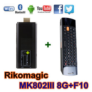 Free shipping Rikomagic MK802III android mini pc ,Android TV Box A10 Cortex A9 1GB RAM 8G ROM HDMI + 2.4G Flying Air Mouse F10