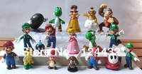 Children's Day Gift NINTENDO SUPER MARIO BROTHERS 18 FIGURE SET LOT DECORATION LUIGI PRINCESS