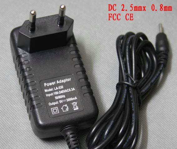 5V 3A EU Power Adapter EU US DC 2.5x0.8mm Charger for Quad Core Tablet PC Like Sanei N10 Ampe A10 Ainol Hero II Spark Firewire(China (Mainland))