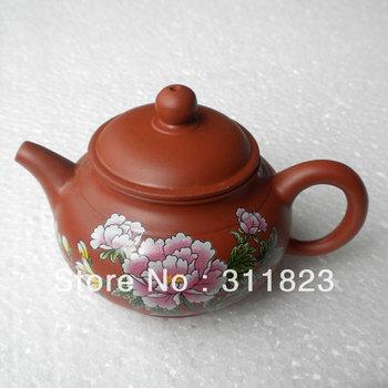 Peony Printed Purple Gray Teapot  Craft Pot  Yixing Purple Gray Teapot