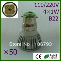50pcs LED Lamp B22 4X1W=50W Halogen Bulb Light Bulbs High Power LED Spotlight Free shipping warm/pure/cool white