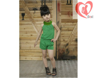 Free shipping Casual Korean version of the 2013 summer children's clothing girls Older children Budou children pants suit
