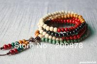 BRO617  Buddhist 108 beads colorful Sandalwood prayer beads malas,6mm,Fashion wooden beaded bracelet