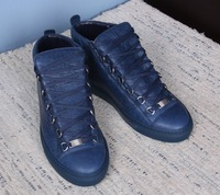 SNEAKERS ARENA HIGH TOP BLEU ROI ARENA CREASED-LEATHER SNEAKERS High Trainers Lambskin with tone-on-tone laces  footwear