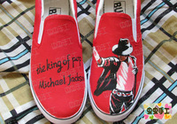 2013 hot sell hand-painted shoes Michael Jackson red shoes