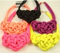 6pcs/lot Wholesale Free Shipping Fashion Neon color knitted Choker Necklace Glitter handmade cotton rope Heart Necklace