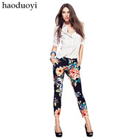 Womens elastic cotton pants with flower printed for freeshipping and wholesale