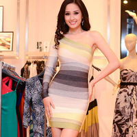 Latest style women color gradient one shoulder HL bandage dress sheath sexy cocktail party dresses drop shipping HL1520