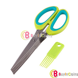 Stainless Steel 5 Blade Office Cut Shredding Scissors Sharp Herb Kitchen Tool [30134|01|01](China (Mainland))
