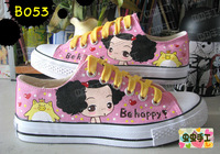 Low hand-painted shoes graffiti shoes canvas shoes female - - b053