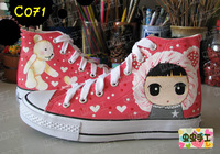 Medium cut hand-painted shoes graffiti shoes canvas shoes female - - c071