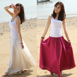 2013 Spring/Summer Bohemia Style Women's Beach Linen Expansion Long Skirts/4 Colors/Free Shipping/C351(China (Mainland))