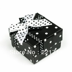 Free Shipping Spot Ring/Earring Package Box With Bow Black(China (Mainland))