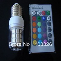 FREE SHIPPING RGB  led corn light bulb .RGB SMD LED light 3W with remote controller