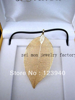 24k real gold  plating evergreen leaf  natural leaf pendants