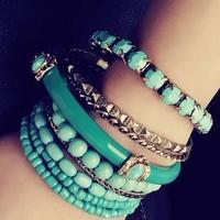2014 new fashion bohemia national trend fresh gentlewomen elegant sea blue multi-layer beaded bracelet C0015