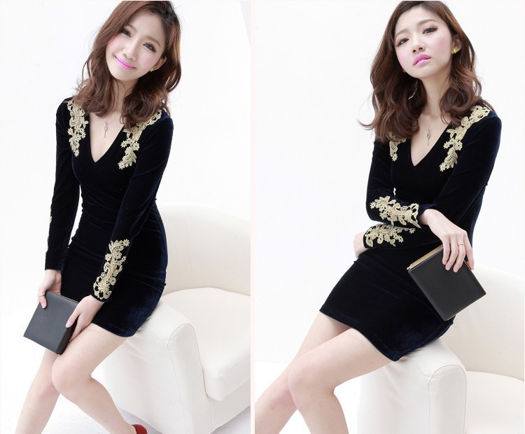 2013 New spring and summer European Fashion velvet Lace Hollow Out sexy Dress Women Free shipping(China (Mainland))