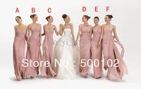 2013 Blush Column Chiffon Mixed Styles For One Wedding Party Side Slit Bridesmaid Dress