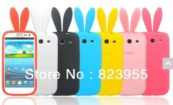 Wholesale Silicon gel bunny rabbit ear mobile phone cover Case For Samsung Galaxy SIII S3 i9300(China (Mainland))