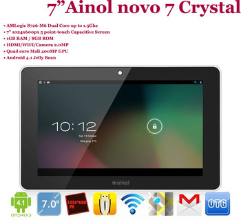 """Free shipping! 1GB RAM Dual Core 2.0MP camera 1024x600 Ainol novo 7 Crystal 7"""" Android 4.1 Jelly bean tablet 1.5Ghz HDMI WIFI"""