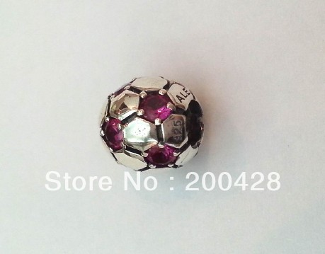 925 Sterling silver football with Red cz charm beads fitting for pandora and chamila bracelet 925ale stamp(China (Mainland))