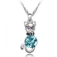 N097 Factory direct jewelry wholesale Korean fashion boutique Crystal charm cat necklace free shipping