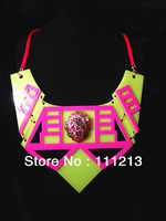 Vintage exaggerated necklace,neon geometry plate,lion head fashion necklace K254 neon yellow + neon pink,star statement necklace