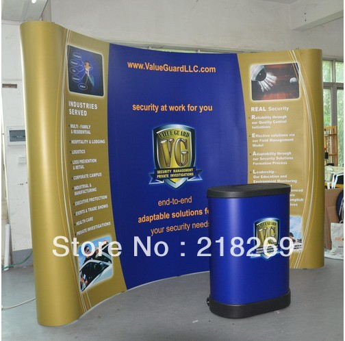 High Quality!!! Magnetic Pop up Stand Banner with plastic trolley case table (free printing!!)(China (Mainland))