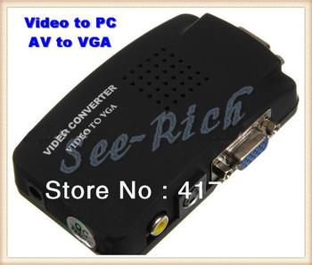 1pcs Factory price Video to VGA / TV RCA Video S-video to PC VGA / Monitor Adapter Converter Box / Black / SR-AV04 /Freeshipping