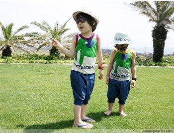 2013 Summer Boys Girls Fashion Cotton Twinset, Kids Cartoon Elephant Vest+Pants Clothing Set Clothes Suits
