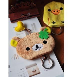 Free Shipping Plush Rilakkuma & Yellow Chicken Pumping Rope Key Chain Holder Key Wallet Key Pouch Retail
