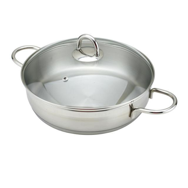 Kc7 24cm 304 stainless steel frying pan sauce pan without coating(China (Mainland))
