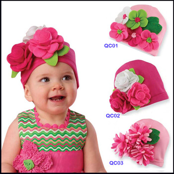 free shipping MZ01 retail Thousands Belle the baby cap baby armour of flowers knitted hat handmade flowers hat Christmas hat
