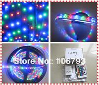 X2pcs free shipping 5m/roll 3528 rgb 300leds non-waterproof led strip + 24 key IR rgb controller christmas tree led