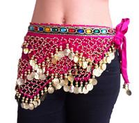 Freeshipping!Promotion!Rose Red handmade Belly Dance Hip Scarf bead Coins Wrap Velvet Skirt Belt