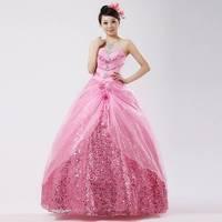 The bride wedding dress formal dress bride dress long design formal dress pink wedding dress, princess dream fancy