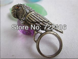 2013 Unique Alloy Hot Sale vintage style rhinestone Parrot Ring FREE SHIPPING(China (Mainland))