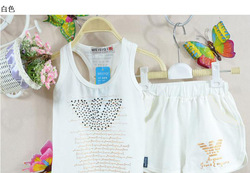 2013 New arrive Little Boys Summer Sport Sets Kids Cotton Paillette Vest+Elastic Waist Shorts Wear Children Clothing Suits(China (Mainland))