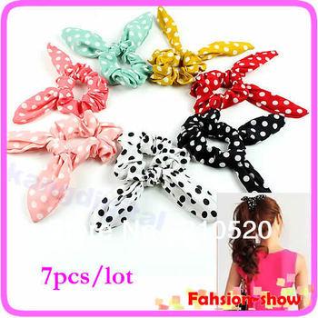 Wholesale 7pcs/lot Sunshine Cute Polka Dot Rabbit Ear Headband  Bow Hair Tie Band Ponytail Holder Hair Accessary Free Shipping