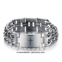 Wholesale 2014 New Hot Sale Fashion Jewelry New Bible Cross chain Men's 316 titanium steel bracelets & bangles for men/boy TY620