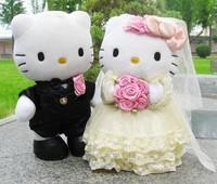 Hot sale Wedding doll car decoration Hello kitty  plush   bear plush toy kid's toy  2pc/set  size:30cm