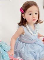 sky bule princess baby girl dress