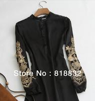 Free Shipping 2013 New Fashion Women's Summer Chiffon Top Plus Size Blouse Vintage Long Sleeve Blouses