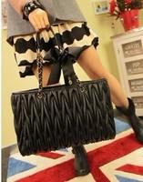2013 Brand handbag,women's brand bag   fashion pleated  PU embroidery women's handbag shoulder bag chain bag  Free shiipping
